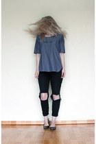 linen Muji top - cotton H&M pants - leather Frye flats