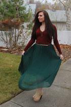 Mia boots - Victorias Secret sweater - maxi skirt romwe skirt - Forever21 belt