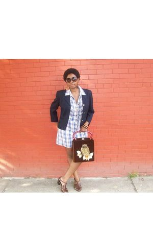 blue vintage coat - blue Vintage St Johns Bay shorts - brown vintage shoes - bro
