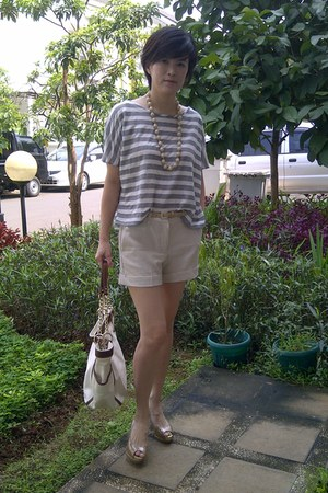 Zara shorts - DKNY bag - Charles & Keith belt - striped Naf Naf blouse