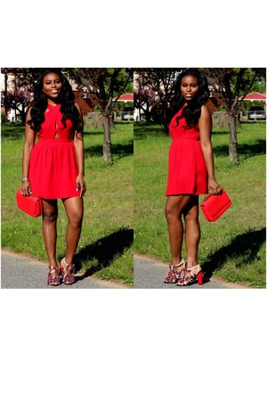 red chiffon Forever 21 dress - red tory burch heels
