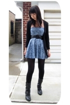 American Apparel dress - Charlotte Russe belt - American Eagle sweater - H&M tig