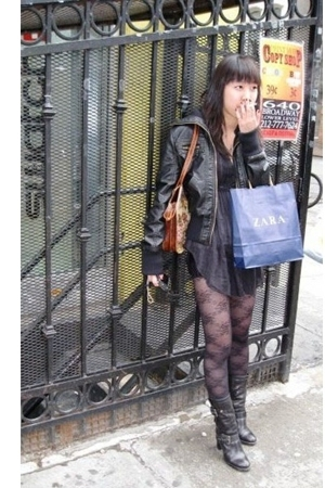 Forever21 jacket - Kimchi&Blue top - Urban Outfitters tights - Nine West boots -
