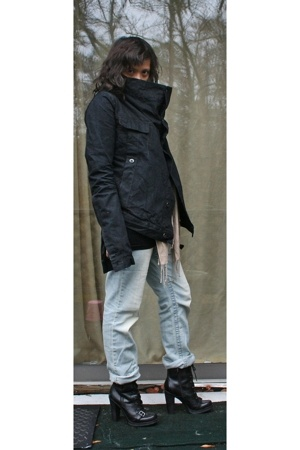 Rick Owens jacket - random brand top - random brand jeans - Guess boots - H&amp;M sc
