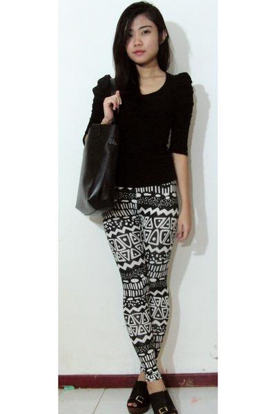 In House Fashion Leggings Black Cotton On Blouses Aztec Black White By Mssharon Chictopia