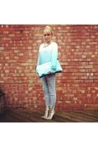 beige snakeskin Zara boots - periwinkle street style H&M jeans