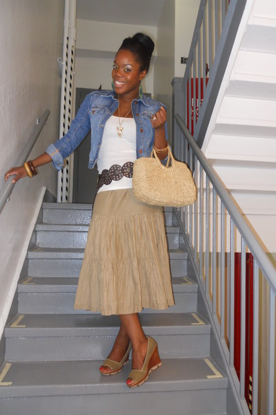 blue H&M jacket - beige Club Monaco skirt - white f21 shirt