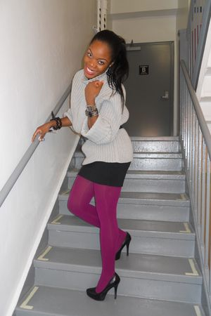 black f21 skirt - charlette russe shoes - gray Hubbys Closet sweater