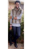 Forever 21 jeans - American Apparel shirt - vintage vest - Zara flats - Forever2