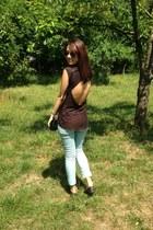light blue H&M pants - forest green Mango sunglasses