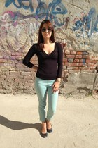 dark green Mango sunglasses - light blue H&M pants - black Mango blouse