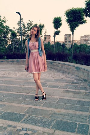 pink dress - beige bag - blue vest - black sandals - red bracelet