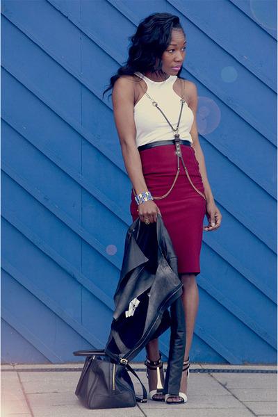 Topshop skirt - H&M top - River Island heels