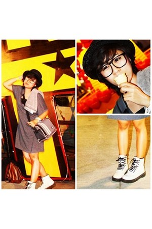 white white Dr Martens boots - charcoal gray gray dress from japan dress - black