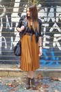 Black-h-m-jacket-burnt-orange-skirt