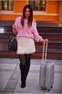 Black-vintage-sweater-silver-lotaro-bag-white-h-m-skirt