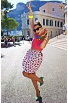 cream EmEmSzop skirt - green H&M heels - hot pink new look top