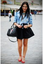 red Parfois flats - light blue Mango shirt - black Zara skirt