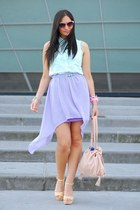 light purple Hand Made skirt - neutral H&M shoes - light blue OASAP blouse