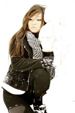 black Dollhouse boots - black zip to side Forver21 jacket - gray Forever21 leggi