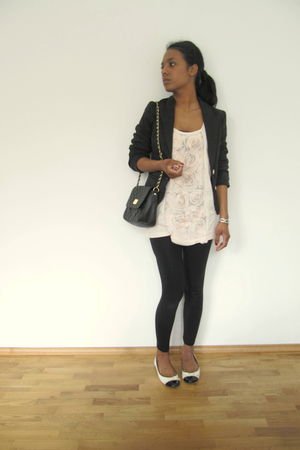 black H&M blazer - beige H&M shirt - black H&M leggings - beige Dorothy Perkins