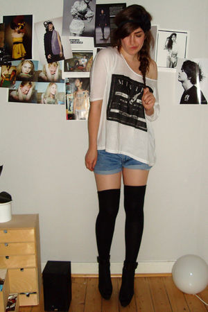 white weekday shirt - blue DIY shorts - black vagabond shoes - black H&M accesso