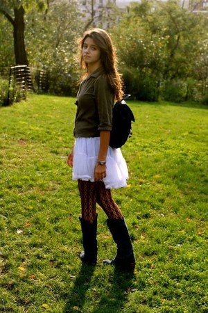 white the childrens place skirt - blue Daffys boots - army green shirt