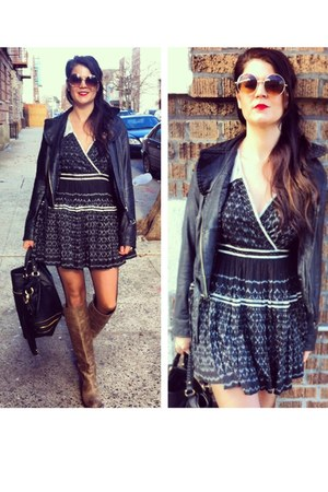 free people dress - Frye Boots boots - Vintage Leather Jacket jacket
