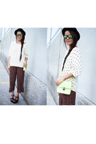 ruby red Zara pants - white Mango sweater - lime green Bag bag