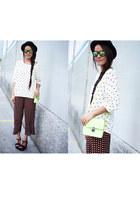ruby red Zara pants - white Mango sweater - lime green Bag bag