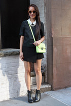 black H&M boots - chartreuse H&M purse - black Zara skirt - green H&M blouse