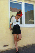 white Valleygirl blouse - black Sportsgirl shorts - black Deena & Ozzy shoes - r
