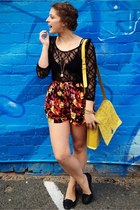 yellow asos bag - red Motel shorts - black skulltinis Jeffrey Campbell flats