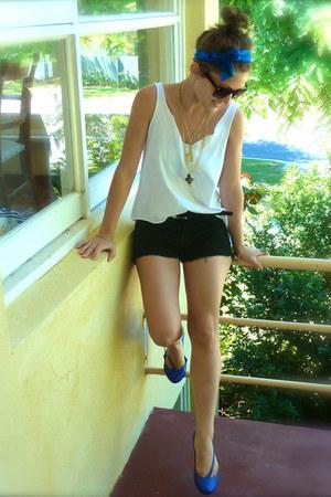 blue Melissa shoes - blue tie-dye silk scarf - black supre shorts
