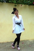 white Seafolly dress - black tights - pink shoes - black belt - black Edwina Nol
