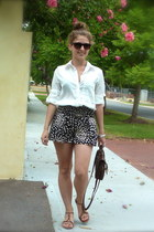 white supre blouse - black Valleygirl shorts - brown asos bag