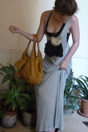 gray supre dress - black supre bra - yellow bag - black Sass and Bide necklace -