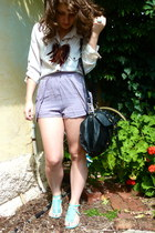 light purple Otto Mode shorts - black rubi bag - aquamarine Nude sandals