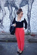black H&M bag - black chiffon blouse - salmon Forever21 pants