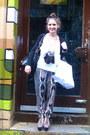 White-top-black-pants-heather-gray-jeffrey-campbell-heels