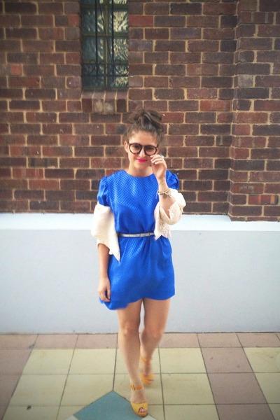 chunky suede Novo heels - silk checkered vintage dress
