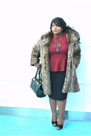 dark brown faux fur coat - black pencil sk asos skirt