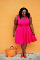 hot pink peekaboo skater ashley stewart dress