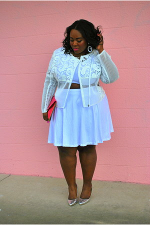 white crop top Custom Plus top - white lace moto asos jacket