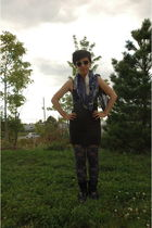 black H&M skirt - American Apparel leggings - black boots - scarf - black Americ