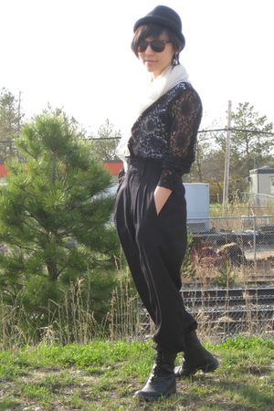 white American Apparel shirt - black liz claiborne blouse - black pants - black