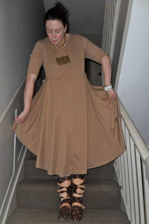 dark brown vivienne westwood boots - camel COS dress - gold pamela love necklace