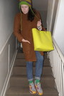 Tawny-zara-coat-blue-uniqlo-jeans-lime-green-random-hat
