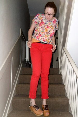 red Zara jeans - black charity shop belt - light orange Topshop vest - white new