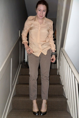 neutral Topshop shirt - light brown Zara pants - silver Miu Miu shoes - silver T